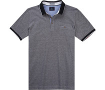 Herren Polo-Shirt, Baumwoll-Pique, navy meliert blau