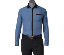 Herren Hemd Ultra Slim Fit Popeline blau-schwarz