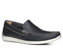 Herren Schuhe Slipper Leder dunkelblau