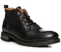 Herren Schuhe Stiefelette, Leder warm gefüttert, schwarz