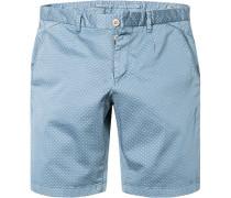 Herren Bermudashorts Modern Fit Baumwolle jeansblau gemustert