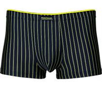 Herren Unterwäsche Trunk Microfaser marine-gelb gestreift