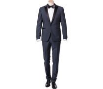 Herren Anzug Smoking Wolle-Mohair blau-schwarz meliert