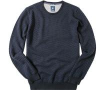 Herren Pullover Baumwoll-Schurwoll-Mix marine-jeans gepunktet