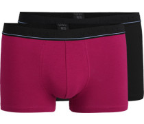 Herren Unterwäsche Trunks, Baumwolle, rot-schwarz