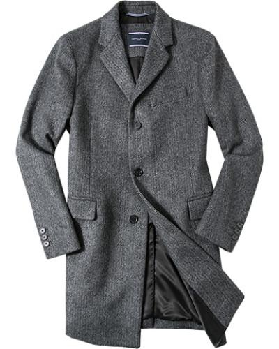 Herren Mantel, Woll-Mix, dunkelgrau-grau gemustert