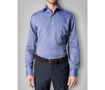 Herren Hemd Regular Fit Baumwolle blau gemustert