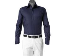 Herren Hemd Slim Fit Baumwoll-Stretch dunkelblau rosa