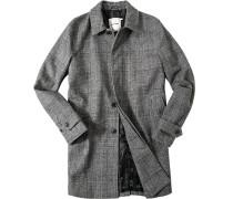 Herren Mantel, Wolle, schwarz-ecru gemustert grau