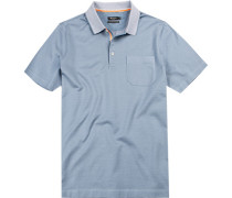 Herren Polo-Shirt, Baumwolle mercerisiert, hellblau gepunktet