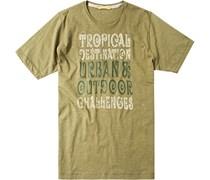 Herren T-Shirt Baumwolle grün gemustert