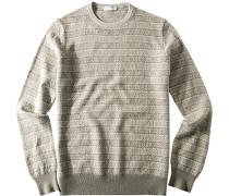 Herren Pullover Wolle beige-hellgrau gemustert