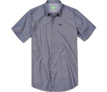 Herren Hemd Big&Tall Baumwolle dunkelblau meliert