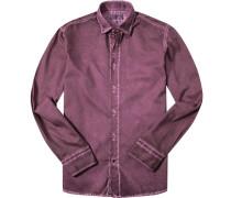 Hemd Modern Fit Baumwolle bordeaux