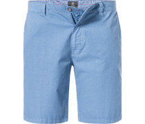Herren Hose Bermudashorts, Regular Fit, Baumwolle, blau gemustert