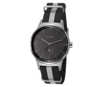 Herren Uhren Uhr, Edelstahl-Textilband, schwarz-grau