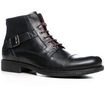 Herren Schuhe Schnürstiefeletten Leder schwarzblau