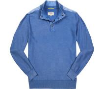 Herren Pullover Baumwolle aqua meliert blau
