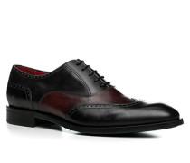 Herren Schuhe Oxford Leder nero schwarz,rot