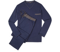 Herren Schlafanzug Pyjama Baumwolle blau-grau