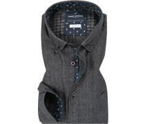 Hemd Modern Fit Baumwolle dunkel meliert