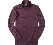 Herren Rollkragen-Shirt Baumwolle brombeere violett