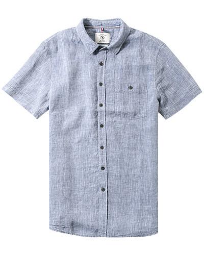 Herren Hemd, Classic Fit, Leinen, blau meliert