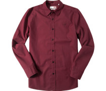 Herren Hemd Slim Fit Popeline bordeaux