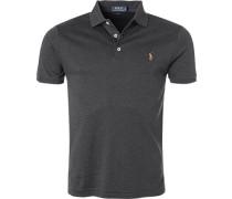 Herren Polo-Shirt, Slim Fit, Baumwoll-Jersey, anthrazit meliert grau