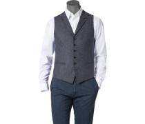 Herren Anzug Weste Woll-Mix blau-grau gemustert