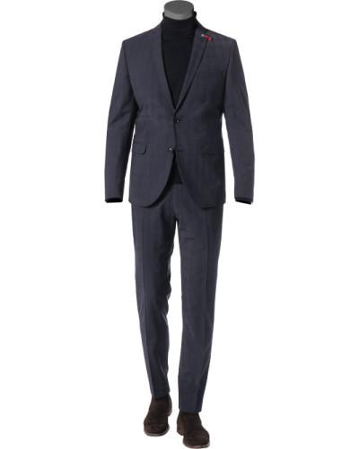 Anzug, Slim Fit, Schurwoll-Stretch, grau kariert