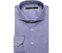 Herren Hemd Shaped Fit Oxford blau meliert