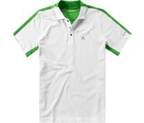 Herren Polo-Shirt Coolmax-Baumwolle-Mix weiß-grün