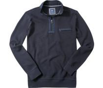 Herren Pullover Troyer Baumwolle marine blau