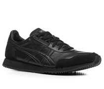 Herren Schuhe Sneakers Velours- und Glattleder-Mix schwarz