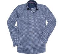 Herren Hemd, Tailored Fit, Popeline, marine gemustert blau