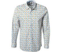 Hemd Baumwolle -blau gemustert