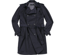 Herren Mantel Trenchcoat, Slim Fit, Baumwolle, navy blau