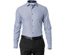 Herren Hemd Slim Fit Mille Rayé blau-weiß gestreift
