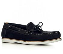 Herren Bootsschuhe, Nubukleder, dunkelblau