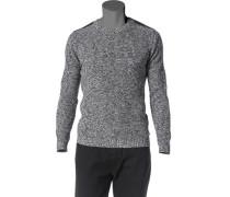 Herren Pullover Baumwolle-Wolle-Mix grau-weiß meliert