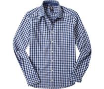 Herren Hemd Tailored Fit Twill blau-grau kariert