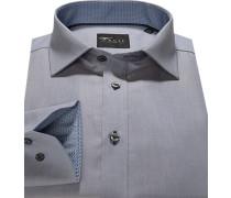 Herren Hemd, Slim Fit, Oxford, grau meliert
