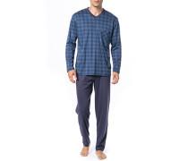 Herren Schlafanzug Pyjama Baumwolle blau kariert