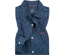 Herren Hemd Jersey navy gemustert blau