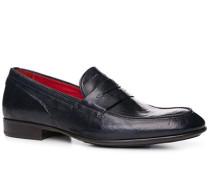 Herren Schuhe Loafer Leder azzurro