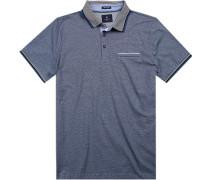 Herren Polo-Shirt, Baumwoll-Jersey Airtouch, blau gestreift