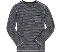 Herren Pullover Baumwolle schwarz-weiß meliert