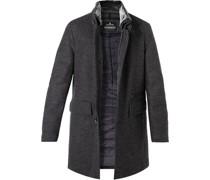 Mantel Hampton Wolle Kunstfell dunkel meliert