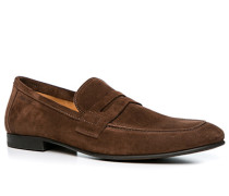 Herren Schuhe Loafer Veloursleder dunkelbraun braun,beige